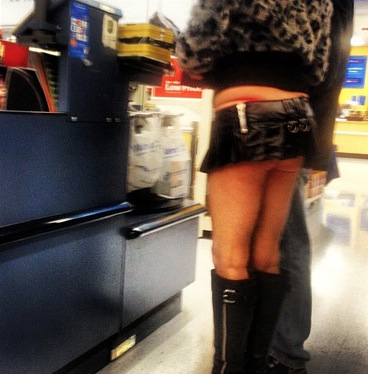 Short Leather Mini Skirt, Boots, Fur, Bare Legs and Butt. Walmart ...