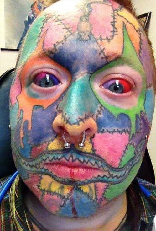 tattoo overdose no skin left   patchwork face art