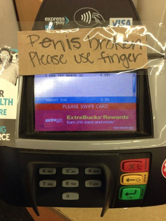 credit card machine sign