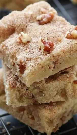Cinnamon Pecan Shortbread Bars - Recipe