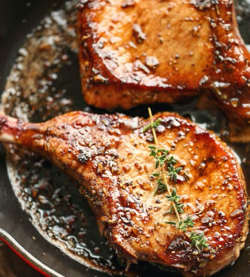 Pork Chops with Sweet and Sour Glaze - Recipe