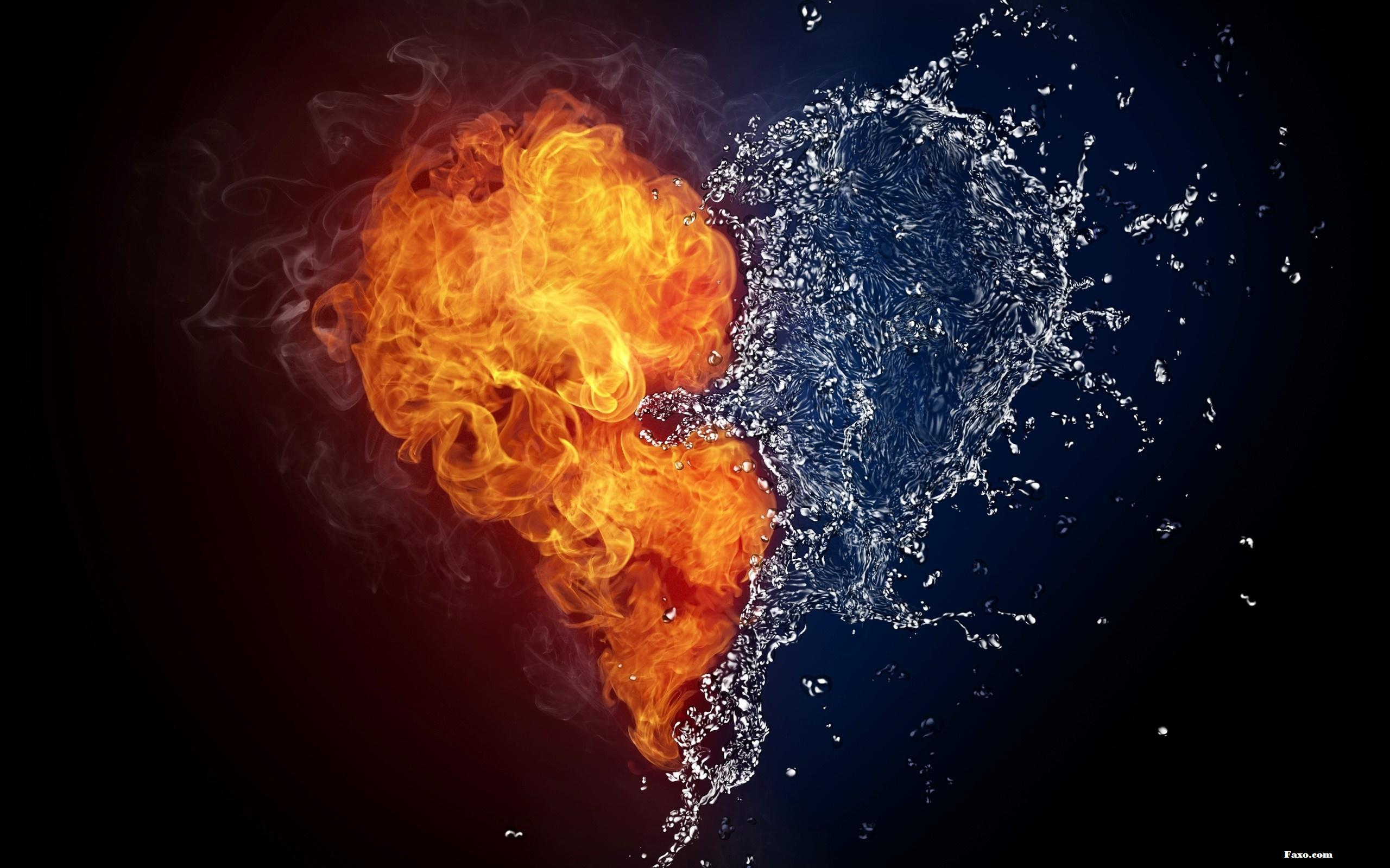 Fire And Water In The Shape Of Love Heart Wallpaper Faxo Faxo