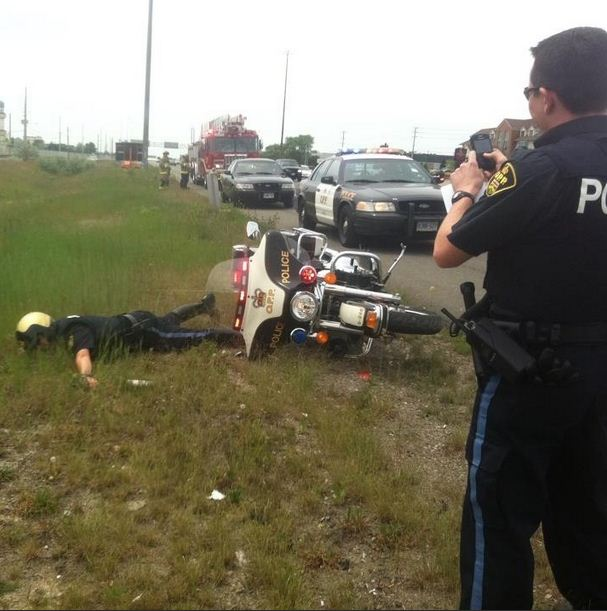 Police Officer Motorcycle Crash