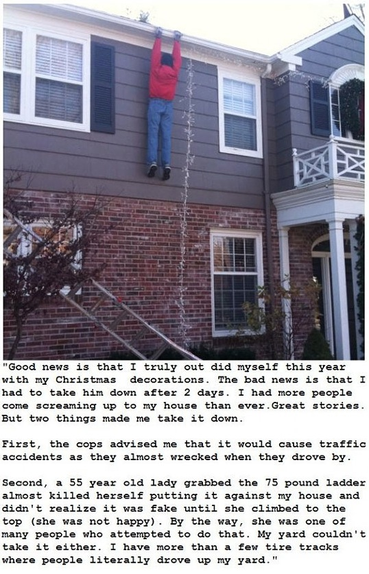 Hanging by His Hands House Christmas Decorations - Christmas Lights Fail
