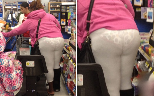 Pink Jacket and See Through White Leggings - Why?