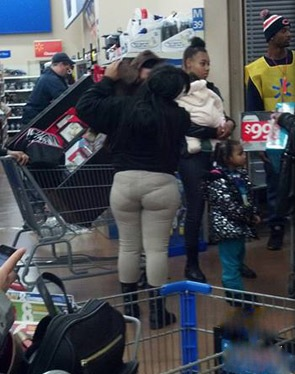 See Through Lumpy Leggings at Walmart - Tight Pants Fail