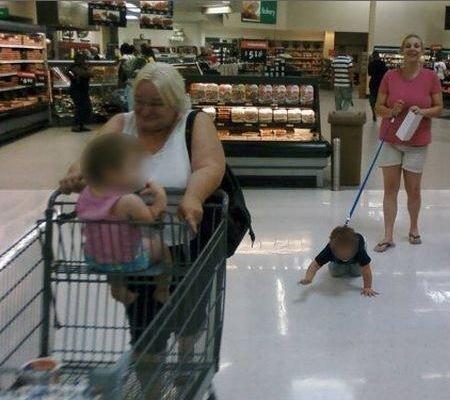Take Your Pet To Walmart Day Mom Walks Kid On Leash Like