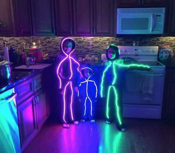 Dressing Up As Colorful Glowing Stick Figures For