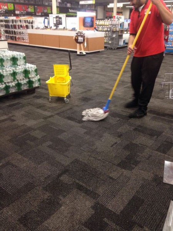 time to mop the carpet  fool uses wrong tool for the job at walmart - walmart