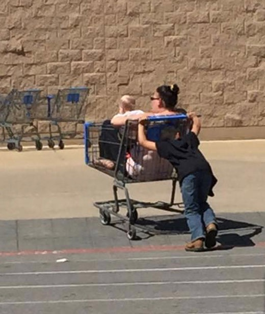 Laziest Mom Ever And Her Shopping Cart Chauffeur Child